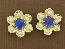 E042- Genuine 9ct Solid Gold Natural Sapphire & Pearl Blossom Stud Earrings