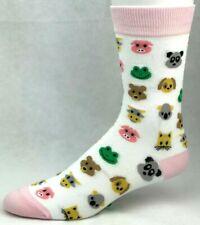 6ebf2f2e40cb Yo Sox Women's White and Pink Multi Animal Crew Dress Socks
