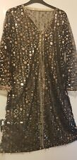 Long Sleeved Black and Gold Net Sequin Gown (Asian Wear)