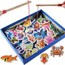 32pcs Magnetic Fishing Educational Fishing Game Wooden Toys Kids Baby Gifts