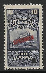 STAMPS-ECUADOR. 1898. 10c Railway Telegraph, ABNCo. Specimen. Mint Never Hinged