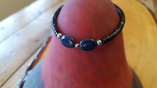 "Bracelet toggle clasp 8"" Geniune Blue & Bown Gemstone"