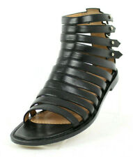 ALEXA WAGNER Black Leather Strappy Flat Gladiator Sandals 38