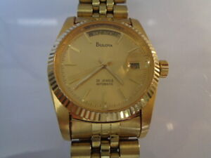 Bulova Automatic Mens Watch Day & Date Split Calendar  Gold Dial gold plated