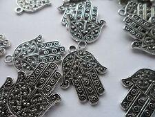 20 Hamsa Hand of Fatima Charms pendants~antique silver~29x23x2mm~1.5mm hole