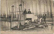 CIRCA WWI CAR ON A RAFT ACROSS THE YSER CANAL  POSTCARD