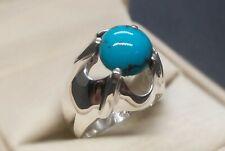 Natural Neshapuri Blue Turquoise Sterling Silver 925 Handmade Feroza Mens Ring