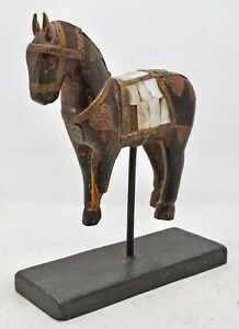 Vintage Wooden Horse Figurine Original Old Hand Carved Mother of Pearl Brass