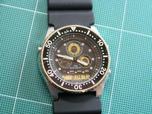 Citizen Ana-Digi Combo Diver 8646-088395 Vintage LCD Digital Watch 1988