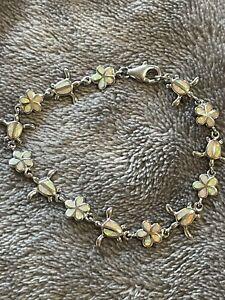 Sterling Silver Turtle Plumeria Opal Bracelet 6 3/4