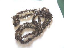 Inusual extra largo natural cuarzo ahumado forma libre Chip Perla Collar MD40