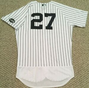 """STANTON size 46 #27 2020 New York YANKEES game jersey issued home """"HGS"""" MLB HOLO"""