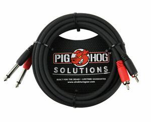"10ft Pig-Hog Dual 1/4"" TS Mono Male Plug to 2-RCA Male Plug  Audio Cable"