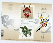 Weeda Canada 2885a VF NH Lunar Year of the Ram/Monkey Transitional S/S of 2