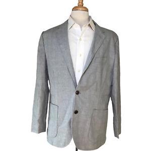 J crew thomason linen cotton blend summer time sport coat Men's 44R gray plaid