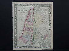 Antique Map, Mitchell, 1865, Palestine, Holy Land, Jerusalem M8#18