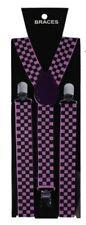 Unisex Fancy Dress Novelty Fashion Braces Bright Purple & Black Check Pattern