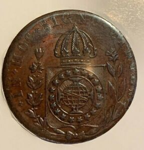 1831-R Brazil 80 Reis, Pedro II Copper Coin TOP quality