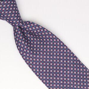 Josiah France Mens Wool Silk Necktie Purple Blue Pink Check Print Loose Weave