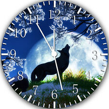 "Wolf and Moon wall Clock 10"" will be nice Gift and Room wall Decor Y37"