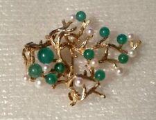"14k yellow gold pearls & jade ""CROSSE""  Germany, brooch.1967 9.6g. tree design"