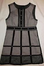 ANNA SUI GOSSIP GIRL herring bone studded steampunk goth shift dress 11 NWOT