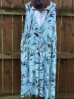 Lane Bryant Womens 26 28 Plus Blue Aqua Black Smocked Faux Wrap Sleeveless Dress
