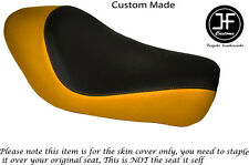 BLACK YELLOW VINYL CUSTOM FOR HARLEY SPORTSTER LOW IRON 883 SOLO SEAT COVER ONLY
