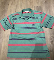 Rare Vintage GIVENCHY Activewear Mens Striped Polo Shirt Size Large SOFT/THIN