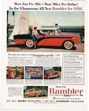 Original Print Ad 1956 Hudson Dealers Rambler Cross Country 2 Page Collectibles
