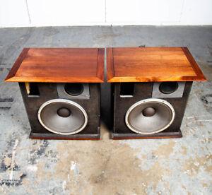 Mid Century Modern Speakers Early JBL System Set 130A / N1200 175 16 Ohm Walnut