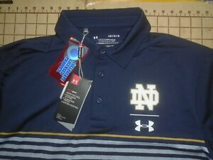 MENS LARGE BLUE/GRAY UNDER ARMOUR NCAA NOTRE DAME POLO SHIRT - NWT