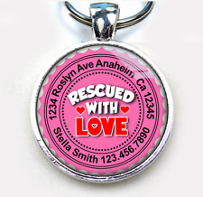Rescued With Love tea rose Custom cute loved 11 colors pet dog cat tag id