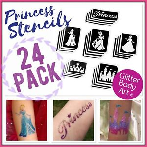 Princess Glitter Tattoo Stencils - 24 Refill Pack - Princess Temporary Tattoos