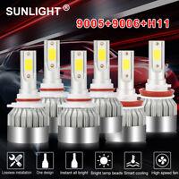 9005+9006+H11 LED Headlight Hi/Low Beam Bulb 6000K Fog Light Set 4065W 609750LM