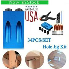 34pcs Pocket Hole Jig Kit Drill Guide Set Hole Puncher Locator For Woodworking