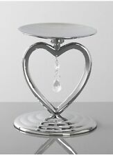Silver Heart Crystal Drop Charm Wedding Ceremony Unity Candle Set