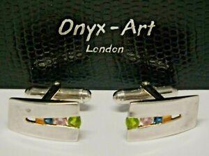 "Pair Solid 925 Silver & Three Colour Stone ""Onyx Art"" Cufflinks in Original Box"