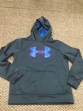 Under Armour Storm Gray Blue Pink Hoodie Sweatshirt Youth Medium Good Condition