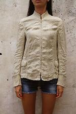 GATTINONI Made in ITALY Flax Linen Beige Zip Jacket Vintage GB12 F40 M-L 80s FAB