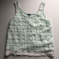 Charlotte Russe Blue Layered Mesh Lace Floral Tank Top Sz M A1703