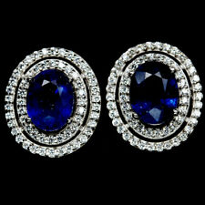 NATURAL 6 X 8mm. BLUE SAPPHIRE & WHITE CZ STERLING 925 SILVER EARRINGS