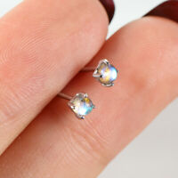 925 Sterling Silver Fashion Round Multicolor Gradient Crystal CZ Stud Earrings