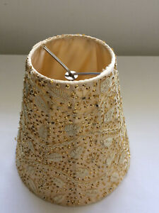 Clip On Chandelier Lamp Shade Cloth w/ Embroidery and Gold Beads