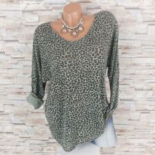 MADE IN ITALY Feinstrick Pullover Pulli Glitzer-Rand Leopard hell-oliv 38 40 42
