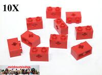 10X Lego® 32064 Technic Steine 1X2 mit Achsloch Kreuzloch Rot Red NEU