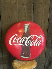 Original Vintage 1950 Coca Cola Button Sign