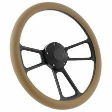 Black Billet & Tan Vinyl Steering Wheel & Adapter Kit 1970 - 1977 Ford Cars