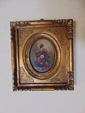 ANTIQUE MINIATURE FLORAL PAINTING- ORIGINAL OIL ON BOARD -SIGNED & FRAMED- ITALY