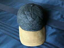 Polo Ralph Lauren Quilted Gray Wool Hat with Leather Brim and Tartan Lining